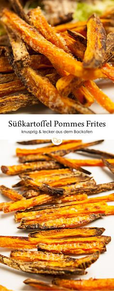 Diese Süßkartoffel-Pommes frites aus dem Backofen sind einfach zu machen, schm… These sweet potato fries from the oven are easy to make, taste great and are great as a side dish and finger food. Healthy Potato Recipes, Sweet Potato Recipes, Pork Chop Recipes, Salmon Recipes, Vegetarian Recipes, Brunch Recipes, Breakfast Recipes, Homemade Sweet Potato Fries, Banana Frita