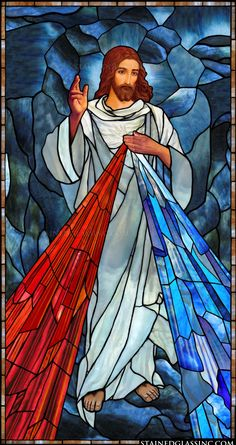 """""""Font of Divine Mercy"""" Religious Stained Glass Window Stained Glass Church, Stained Glass Art, Stained Glass Windows, Religious Images, Religious Icons, Religious Art, Christian Drawings, Christian Artwork, Divine Mercy Image"""