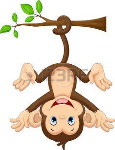 monos: Lindo bebé mono que cuelga en el árbol Vectores