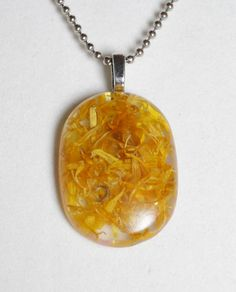 Calendula Marigold Petals in Resin Pendant with ball by GreyGyrl, $13.00