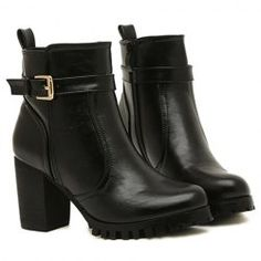$16.77 Stylish Women's Short Boots With Buckle and PU Leather Design