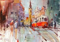 Vienna Tram, x inch, Acrylic on Canvas Voka Voka Art, Traditional Paint, Large Painting, Acrylic Art, Contemporary Paintings, Art World, Painting Inspiration, Les Oeuvres, Landscape Paintings
