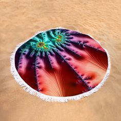 "Round Beach Towel: Abstract fractal art with beautiful colors (orange, red, purple, turquoise, blue, cyan). This roundie is perfect for a day at the beach, a picnic, an outdoor music festival or just general home decor. This versatile summer essential is a must-have this season! The beach towel is 60"" in diameter and made from ultra-soft plush microfiber with a 100% cotton back. Matthias Hauser hauserfoto.com"