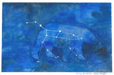 Ursa Major is the first in a series of small original constellation drawings. The great bear's tail is an asterism commonly known as the Big Dipper. It is one of the most recognizable constellations in the sky.  This is an original watercolor painting on 300lb hot press Arches watercolor paper measuring 4'' tall by 6'' wide. It is available on my Etsy shop