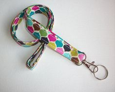 Lanyard  ID Badge Holder  candy jewels trellis   Lobster by Laa766, $7.75  Great for teachers, coaches, nurses and students/ preppy/ fabric/ cute/ patterns / key chain / keychain / girly / badge / key leash