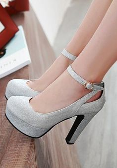 Available Sizes : Heel Height : Platform Height : Heel Height : High Heel Type : Chunky Boot Shaft : Ankle Color : Silver Toe : Round Shoe Vamp : PU Leather Closure : Slip-On/Pull-On Source by manetsteele fashion heels High Heels Boots, Lace Up Heels, Pumps Heels, Stiletto Heels, Shoe Boots, Silver High Heels, High Heels Prom, Silver Chunky Heels, Silver Shoes Heels