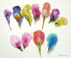 Glass flower petals by Barbara Caraway