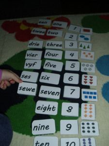 Number cards 1 to 10 in English and Afrikaans Afrikaans Language, Home Daycare, Number Words, One 7, Bilingual Education, Worksheets For Kids, Numbers, Olympus, Digital Camera