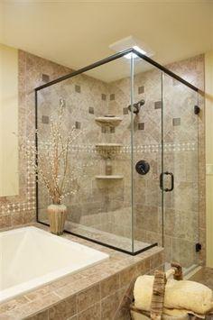 tile and glass bathroom