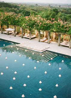 Are you having a backyard wedding? We have 21 wedding pool party decoration ideas for your big wedding day! Pool Wedding, Bali Wedding, Wedding Set, Rustic Wedding, Wedding Reception, Wedding Flowers, Wedding Dresses, Pool Party Decorations, Wedding Decorations