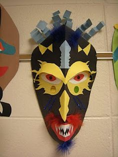 african masks with symmetry