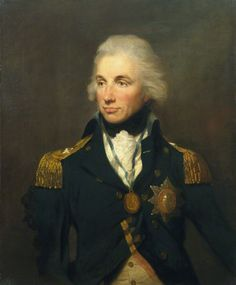 1797, Horatio Nelson by Lemuel Francis Abbott. Depicted wearing the rear-admiral's uniform wearing the Star and Ribbon of the Bath and the Naval Gold Medal, awarded for his victory at the Battle of St Vincent (1797). National Portrait Gallery, UK.