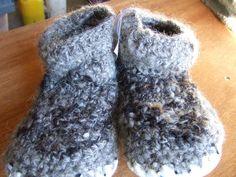 Handspun wool and sheepskin slippers