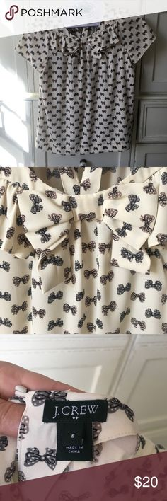 J. Crew dress top size 6 Cream top with bow detail. Fabric covered button in the back and bow and an elegant ruffle in the front J. Crew Tops Blouses