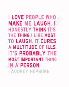 Audrey Hepburn Quote Print I Love to Laugh  Etsy