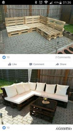 Pallet Garden Furniture, Couch Furniture, Furniture Projects, Furniture Making, Furniture Decor, Outdoor Furniture Sets, Barbie Furniture, Furniture Design, Upcycled Furniture