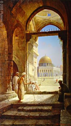 The Square in Front of the Mosque by Stanislav Plutenko Midday. The Square in Front of the Mosque by Stanislav Plutenko Islamic Architecture, Art And Architecture, Palestine Art, Empire Ottoman, Dome Of The Rock, Arabian Art, Islamic Paintings, Old Egypt, Great Paintings