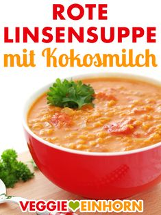 Red lentil soup with coconut milk ▶ Quick and easy with few ingredients ▶ Delicious and healthy ▶-Rote Linsensuppe mit Kokosmilch ▶ Schnell und einfach mit wenig Zutaten ▶ Lecker und gesund ▶ Simple and tasty: quick recipe for red lentils … - Clean Eating Soup, Clean Eating Recipes, Healthy Dinner Recipes, Vegetarian Recipes, Healthy Cooking, Healthy Eating, Coconut Milk Soup, Red Lentil Soup, Vegan Soup