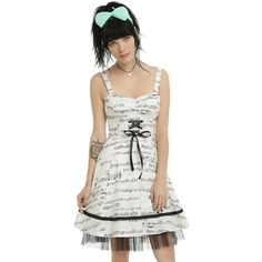 Hot Topic Ivory & Black Music Note Dress ($37) ❤ liked on Polyvore featuring dresses, ruched dress, lace swing dress, trapeze dress, ivory lace dress and swing dress