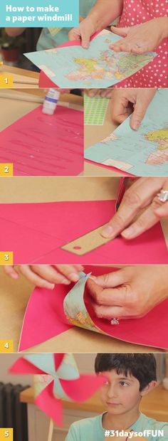 Day 24: Use an old map to make a cute, crafty paper windmill with your kids by following these step-by-step instructions. #31daysofFUN