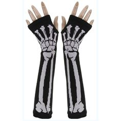Amazon.com: New Black Punk Gothic Dark Rock White Skeleton Long Arm... (£5.20) ❤ liked on Polyvore featuring accessories, gloves, rock climbing gloves, black fingerless gloves, arm warmers, skeleton gloves and white fingerless gloves