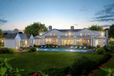 This south of the highway mansion in Water Mill with bay and ocean views, designed by James Michael Howard, has it all. It features 12,000+/- sq ft of living space and sits on a vast 3+/- acre parcel approximately 200 yards from the water. The grand foyer has wonderful inlaid stone patterned floors which lead into the Stair Hall with a custom staircase in a two-story space with a Soanian vaulted ceiling and remarkable skylight. Past the Stair Hall, in the center of the home, is the two-story…