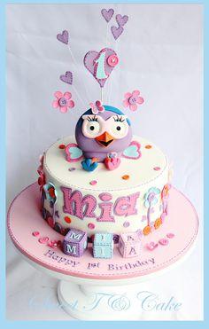 Owl cake Just love owls ; Owl Cakes, Bird Cakes, Cupcake Cakes, Pretty Cakes, Cute Cakes, Birthday Cake Girls, Birthday Ideas, Birthday Cakes, 2nd Birthday