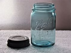 BALL PERFECT MASON BLUE TALLER THAN NORMAL SCARCE FLUTED LIP PINT  FRUIT JAR  #Ball Mason Jars, Vintage Jars, Fruit, Blue, Mason Jar, Jars