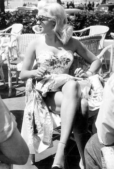 "vintagegal: "" Diana Dors at the Cannes Film Festival, 1956 """