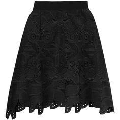 Antonio Berardi - Embroidered Cotton Skirt ($627) ❤ liked on Polyvore featuring skirts, black, embroidered pencil skirt, pencil skirt, zipper skirt, zipper pencil skirt and cotton knee length skirt