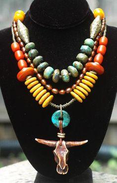 Tibetan Turquoise Saffron Amber & Bronze Bull Skull Statement Necklace