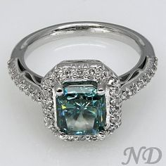 Unique Blue Diamond Engagement Ring ~ 35 Gorgeous Diamonds - Style Estate -