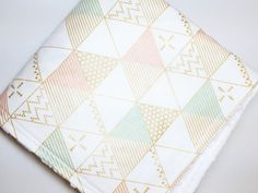 Rose Pink Mint Gold Metallic Triangle Baby by ColorCornerShop