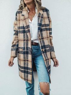 Previous Next Vintage Lapel Collar Check Button Loose Woolen Long Coat - Women's style: Patterns of sustainability Mode Outfits, Fashion Outfits, Womens Fashion, Fashion Trends, Outfits For Women, Fashion Ideas, Fashion Hacks, Fashion Quotes, Fashion Tips