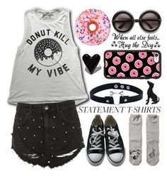 """""""Statement T-Shirts contest"""" by dzeni-dzen ❤ liked on Polyvore featuring Topshop, Iscream, ZeroUV, Casetify, Hollister Co., Converse and statementtshirt"""