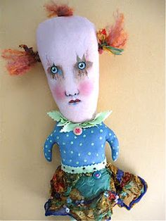 by Sandy Mastroni  creepy girl clown {sold} .... art doll  original design copyright protected by Sandy Mastroni