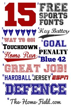 Here are my favorite free sports fonts for party decor invit - Fonts - Ideas of Fonts - FREE SPORTS FONTS. Here are my favorite free sports fonts for party decor invitations posters cards or whatever else you can think of.