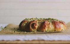 vanilla bean: pistachio danish ring with almond goat cheese filling by @Sarah Kieffer   Vanilla Bean Blog