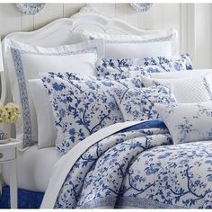 Laura Ashley Charlotte Blue Euro Pillow Cover 211385 - The Home Depot Euro Pillow Covers, King Duvet Cover Sets, Euro Shams, Blue And White Bedding, Blue White Bedrooms, Blue And Cream Bedroom, Floral Bedroom, Periwinkle Bedroom, Blue Bedroom Decor