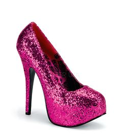 "Teeze pump in hot pink glitter pump has a 5 3/4"" heel with 2"" concealed platform. Bordello Shoes offers a large selection of sleek to shiny patents, satin, sparkly glitters, sequins, fringe and rhines"