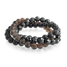 Bling Jewelry Stackable Simulated Hematite Simulated Onyx Simulated Quartz Stretch Bracelet Set 8mm *** See this great product.