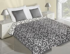 Čierno biely obojstranný prehoz so vzormi Hotel Bed, Bedding Sets, Comforters, Ornament, Blanket, Luxury, Furniture, Design, Home Decor