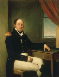 """—- Sir Thomas Masterman Hardy- Domenico Pellegrini (1809) """"His Trafalgar medal hangs from his chest and his left hand rests on a decorated box which may have contained the medal, while his right hand rests in his lap. On the far right, a window curtain is pulled back to reveal a small seascape with ships, a fortified building and waves breaking. This seascape is probably at the mouth of the Tagus where Hardy was in command of the 'Triumph', 74 guns, on the Lisbon station in ..."""