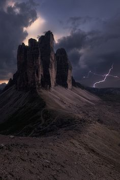 Strike One by Ted Gore on 500px... #disaster #dolomites #italy #lightning #storm #sunset #trecime