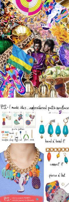 P.S. - I made this...Embroidered Patch Necklace with @IndegoAfrica #PSxIndegoAfrica #PSIMADETHIS