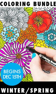 SALE! coloring bundle winter/spring (6 months of coloring pages)