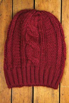 Fuzzy Cable Knit Beanie - Burgundy