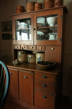 stoneware and beautiful old hutch;luv