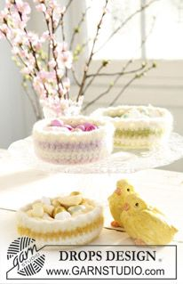 "Crocheted and felted DROPS easter basket in ""Eskimo"". pattern"