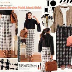 Brushed stroke plaid maxi skirt. Matterial waffle wedges. IDR 145000
